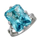 Кольцо с большим наноситалом Аквамарин, белое золото