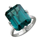 Кольцо с большим наноситалом Турмалин, белое золото