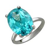 Кольцо с большим овальным наноситалом Параиба, белое золото