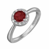 Кольцо с красным и прозрачными фианитами, белое золото