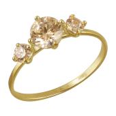 Кольцо с тремя коньячными кристаллами Сваровски, желтое золото 585 проба