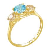 Кольцо с тремя фианитами цвета Шампань и голубым, желтое золото