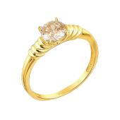 Кольцо с круглым коньячным кристаллом Сваровски, желтое золото 585 проба