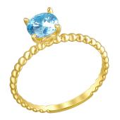 Кольцо канатное с голубым фианитом, желтое золото