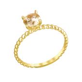 Кольцо канатное с фианитом цвета Шампань, желтое золото