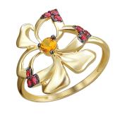 Кольцо Цветок с синтетическим рубином и наноцитрином из желтого золота 585 пробы