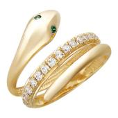 Кольцо Змея с дорожкой фианитов и цветными глазами (зеленые, синие, чёрные), желтое золото