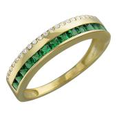 Кольцо Дорожка классическое с квадратными зелеными камнями и фианитами, желтое золото