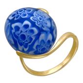 Золотое кольцо с круглым цветным Мурано, желтое золото, 585 проба