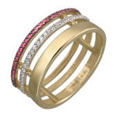 Кольцо с синтетическими рубинами и фианитами, желтое золото