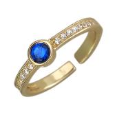 Кольцо с синтетическим сапфиром и фианитами на ногу или на фалангу, желтое золото