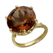 Кольцо с большим круглым наноситалом Гиацинт, желтое золото