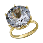 Кольцо с большим круглым наноситалом Аметист, желтое золото