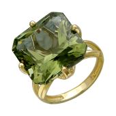 Кольцо с большим наноситалом Султанит, желтое золото