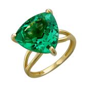 Кольцо с большим треугольным наноситалом Изумруд, желтое золото