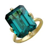 Кольцо с большим наноситалом Турмалин, желтое золото
