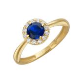 Кольцо с синтетическим сапфиром (изумрудом, рубином) и фианитами, желтое золото