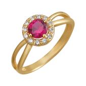 Кольцо с корундом рубиновым (наноизумрудом зеленым, шпинелем синим) и фианитами, желтое золото