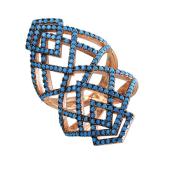 Кольцо Треугольники с искусственной бирюзой, серебро с позолотой
