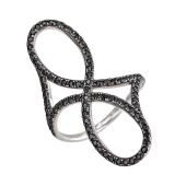 Кольцо Бесконечность с фианитами из серебра 925 пробы