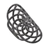 Кольцо ажурное с черными фианитами из серебра 925 пробы