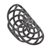 Кольцо длинное Цветок-Сеточка с чёрными фианитами, серебро с чернением