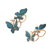 Кольцо с двумя бабочками с искусственной бирюзой, серебро с позолотой