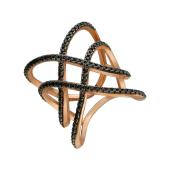 Кольцо широкое на фалангу с чёрными фианитами, серебро с позолотой