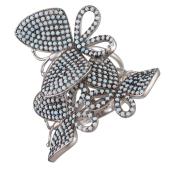 Кльцо Dream с тремя бабочками и голубыми фианитами, серебро 925 проба