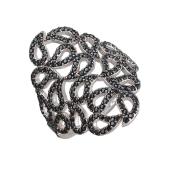 Кольцо Огурцы с черными фианитами, серебро с чернением
