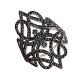Кольцо ажурное с черными фианитами, черненое серебро
