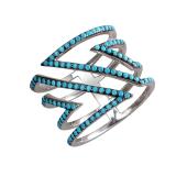 Кольцо широкое Треугольники с искусственной бирюзой, серебро