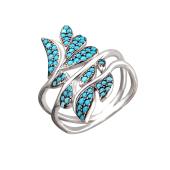 Кольцо Листья с искусственной бирюзой, черненое серебро