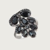 Кольцо Капельки с чёрными фианитами, серебро