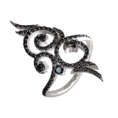 Кольцо с россыпью черных фианитов, серебро