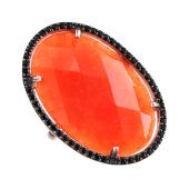 Кольцо с коралловым пластиком в обрамлении черных фианитов, серебро с позолотой