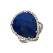 Кольцо Капля с синим пластиком и фианитами, серебро