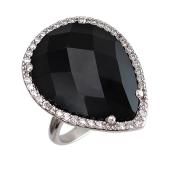 Кольцо Капля с черным пластиком и фианитами, серебро