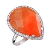Кольцо Капля с оранжевым пластиком и фианитами, серебро