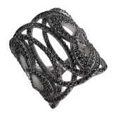 Кольцо ажурное широкое с чёрными фианитами, серебро