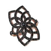 Кольцо Цветок Dream с черными фианитами, серебро с позолотой