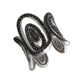 Кольцо Овалы с черными фианитами, серебро и чернение