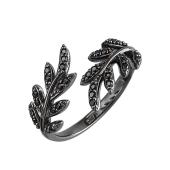 Кольцо Веточка с черными фианитами, серебро и чернение