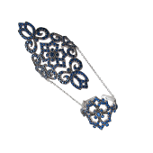 Кольцо Dream ажурное на две фаланги с сапфировыми фианитами, серебро с чернением
