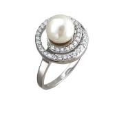 Кольцо с белым синтетическим жемчугом из серебра 925 пробы