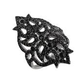 Кольцо Листики длинное с черными фианитами из серебра