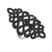 Кольцо ажурное длинное с черными фианитами из серебра