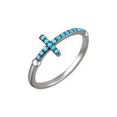 Кольцо Крестик с бирюзовыми фианитами, серебро