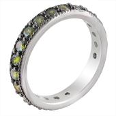 Кольцо Дорожка с зелеными фианитами из серебра с чернением