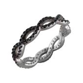 Кольцо Косичка из серебра с черными фианитами